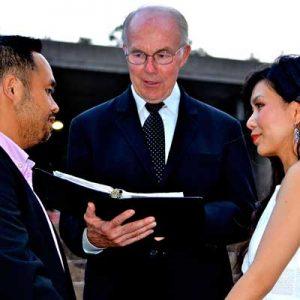 Robert Atkinson Officiating outdoor wedding