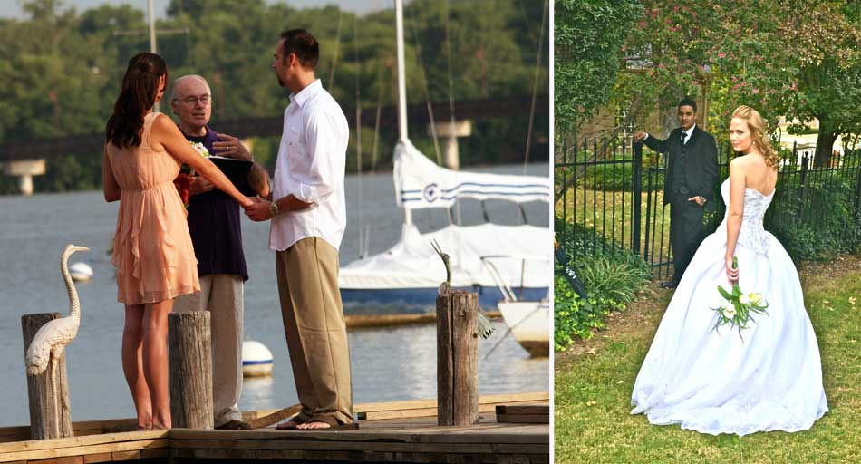 Rev. Robert Atkinson performing wedding on pier, wedding couple entering garden gate