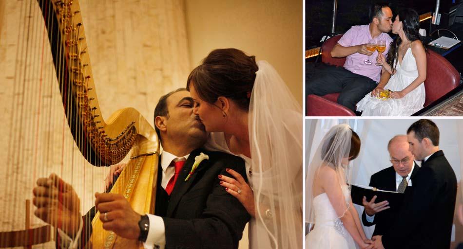 Wedding couple kissing at harp, Rev. Robert Atkinson performing wedding ceremony, wedding couple kissing on gondola