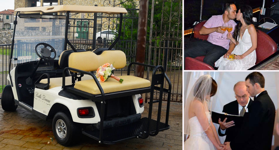 Bouquet on golf cart, Rev. Robert Atkinson performing wedding ceremony, couple kissing on gondola