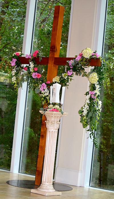 Catholic Style Wedding Ceremony - Ashton Gardens - Unity Candle with Cross in Background