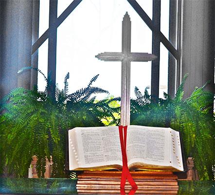 Catholic Style Wedding - Marty Leonard Chapel - Bible and Cross